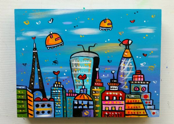 New Cool View of London, original acrylic painting on gesso panel